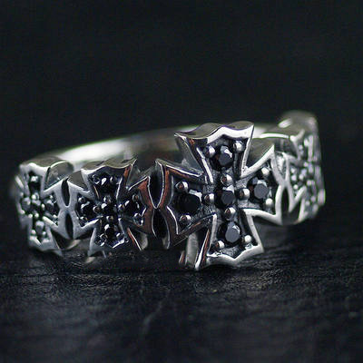 Japan import, 925 Sterling Silver black diamond cross medal Silver Gothic Ring