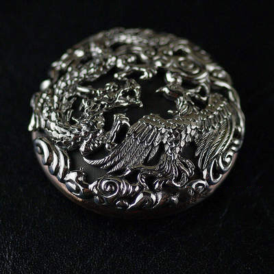 Japan import, silver copper mix, playing dragon and phoenix DIY wallet clip clip buckle
