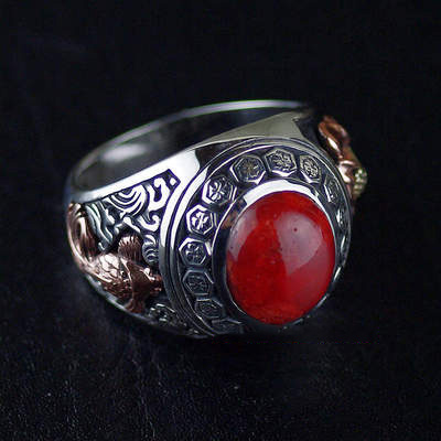 Japan import, Original 925 Sterling Silver OV new set red stone Silver Gothic Ring