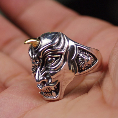Japan import, 925 Sterling Silver unicorn skeleton Male Design import Silver Gothic Ring