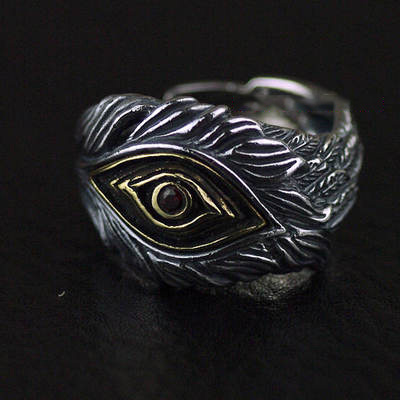 Japan import, 925 Sterling Silver Gothic Silver Eagle eye open feather Ring