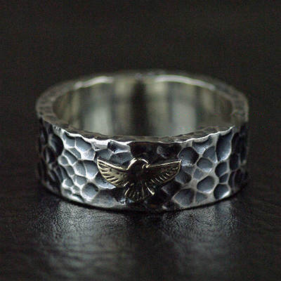 Japan import, GORO style Eagle tolem 925 Sterling Silver finger loop Ring