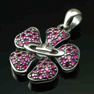 Japan import Vivienne Westwood red diamond sakura flowers Gothic Silver pendant