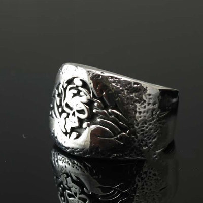 925 Sterling Silver unique pattern skeleton import Silver Gothic Ring
