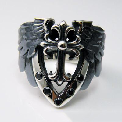 Japan import, 925 Sterling Silver cross Angels feathers Silver Gothic Ring