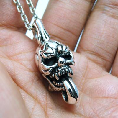 Import Gothic Silver, lively solid big tongue skull 925 Sterling Silver Gothic Silver pendant male