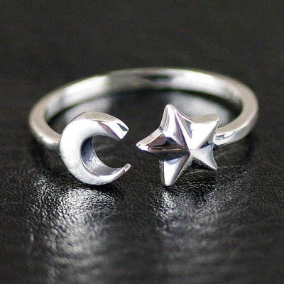 Japan import, Female Design star and moon 925 Sterling Silver open Ring, tail ring