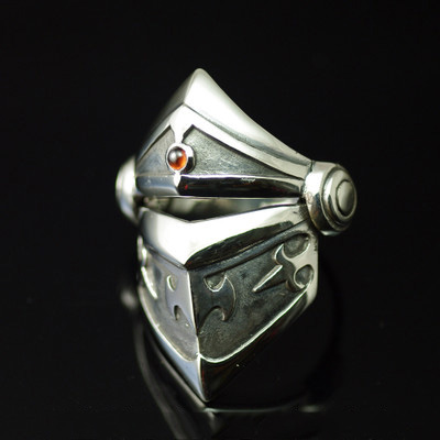 Import Gothic Silver, Retro style three section armor 925 Sterling Silver Ring