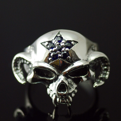 Japan import, 925 Sterling Silver set with diamonds five star goat horns skull Ring