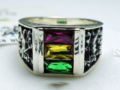 Jamaica style rasta vibration (RV) three color crystal Ring thunder ghost style