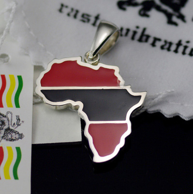 925 Sterling Silver Original Rasta vibrations red Black paint Africa map Gothic Silver pendant