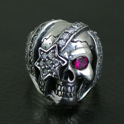 925 Sterling Silver JUSTIN DAVIS design Pirate queen skeleton import Silver Gothic Ring