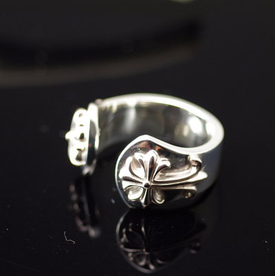 Japan import 925 Sterling Silver chrome style design flower cross open Ring