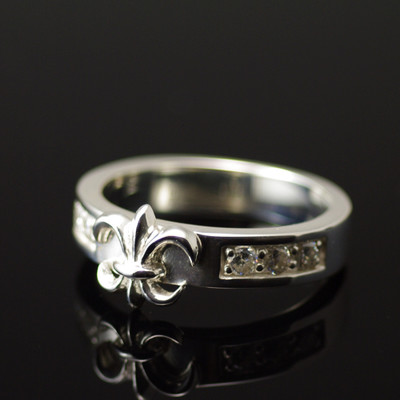 Japan import, 925 Sterling Silver white diamond flower anchor Ring, tail ring small ring