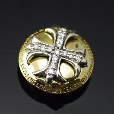 Japan import, set with diamonds silver cross yellow copper clip, clip buckle