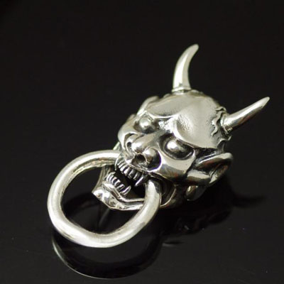 Import Gothic Silver, 925 Sterling Silver bite loop devil mask DIY wallet clip, design clip