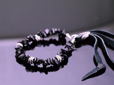Japan import, Japanese Black crystal Leather tassels Gothic Silver Bracelet