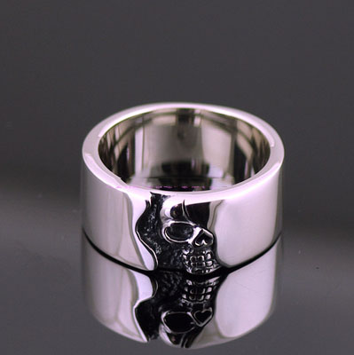 Japan import simple half side skeleton plate ring, skeleton Gothic Silver Male design Ring