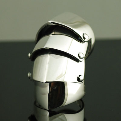 925 Sterling Silver four sections armour Ring