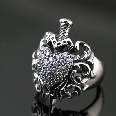 Japan import True love true love set with diamonds hearts precious sword Silver Gothic Ring