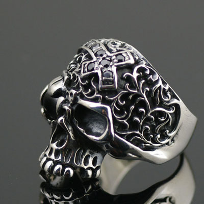925 Sterling Silver set with star stone skeleton import Silver Gothic Ring