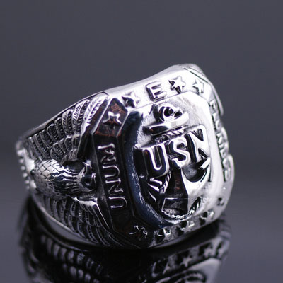 Japan import, 925 Sterling Silver America Navy seal sign Silver Gothic Ring