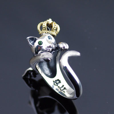 Original good vibrations 925 Sterling Silver angel cat open Ring