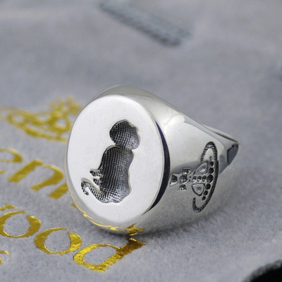 925 Sterling Silver Vivienne Westwood silhouette cute cat flat surface solid ring