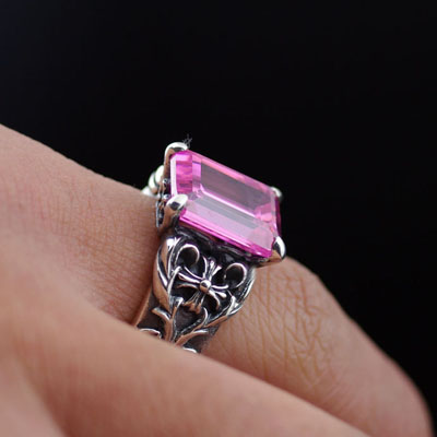 JUSTIN DAVIS Pink diamond import Silver Gothic Ring