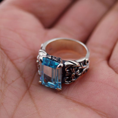 925 Sterling Silver blue princess cut JUSTIN DAVIS female import Silver Gothic Ring