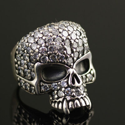 Japan import, 925 Sterling Silver CRAZY PIG fully set with stone vampire skull Silver Gothic Ring