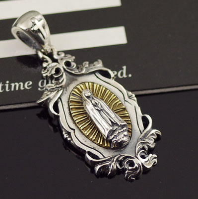 Japan import, Original good vibrations holy mother radiance silver pendant silver copper mix