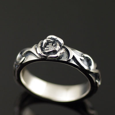 925 Sterling Silver set with diamonds spread rose import Silver Gothic Ring
