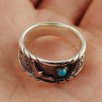 Japan import, Indiana style green Turquoise male eagle 925 Sterling Silver Gothic Ring