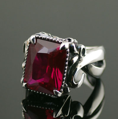 Japan import, Red corundum princess cut ring surface Gothic Style Silver Gothic Ring, Unisex