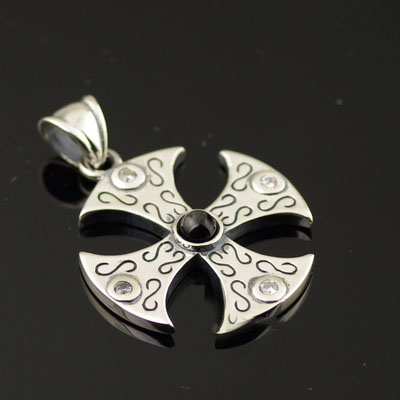Gothic Style 925 Sterling Silver set with diamonds round shape cross import Gothic Silver pendant