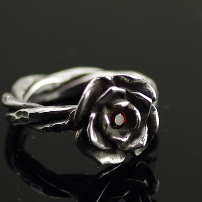 Japan import, Red flower rose female design import Silver Gothic Ring