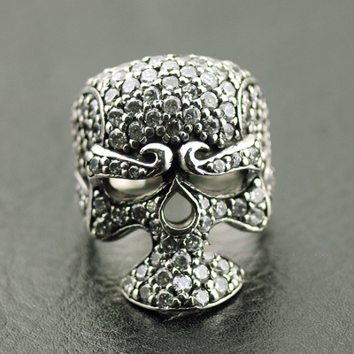 Japan import 925 Sterling Silver fully set with stone double side skeleton Silver Gothic Ring