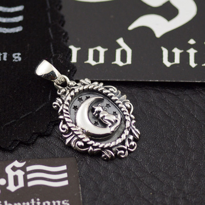 cat on the moon, Original GV new ?Gothic Silver female pendant